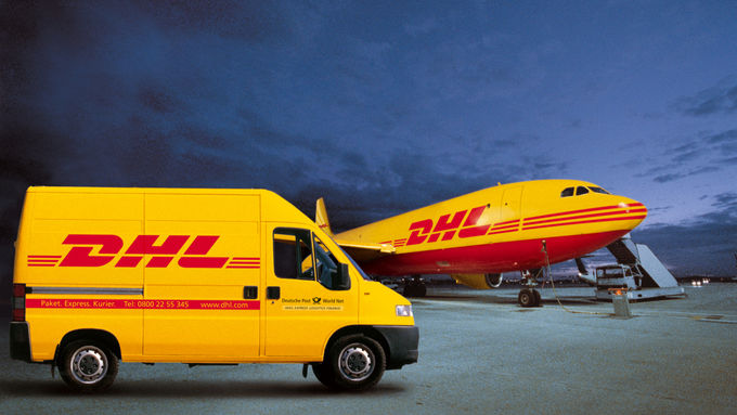 DHL transport aircraft and delivery vehicle