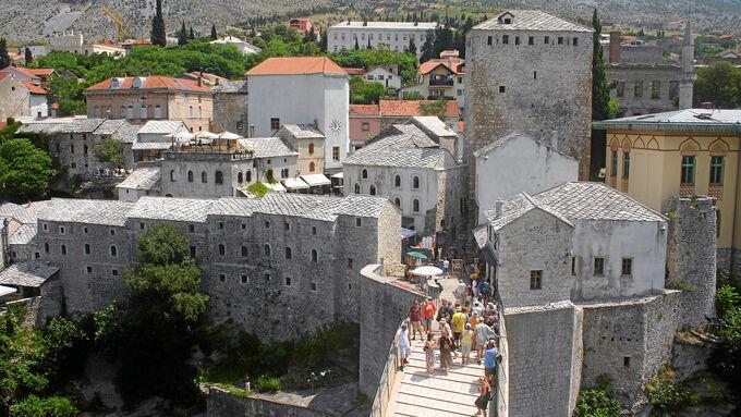 Hilfstransport nach Bosnien, geteilte Stadt, Mostar
