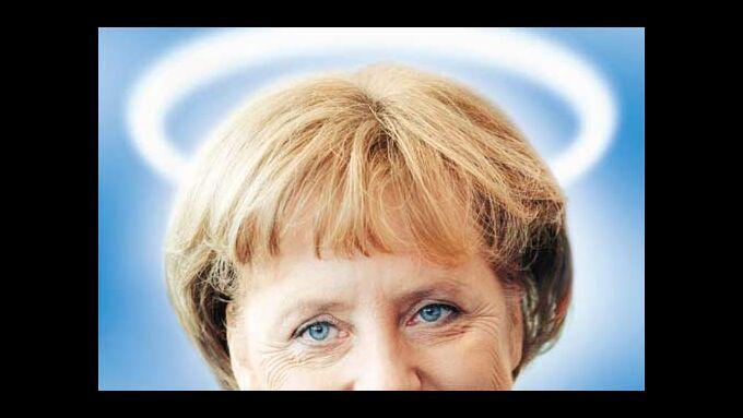 Merkel mit Heiligenschein