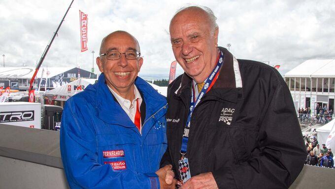 Schulterschluss: Werner Bicker (ETM-Verlag) und Dieter Enders (ADAC Mittelrhein) besiegeln die zukünftige Zusammenarbeit beim Truck Grand-Prix.