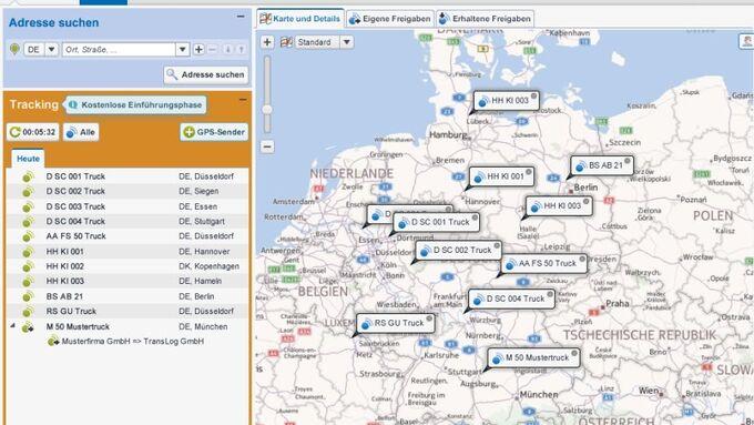 Timocom Tracking, Screenshot