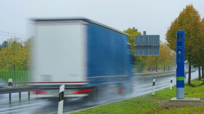 Toll Collect, Kontrollsäule, Maut, Bundesstraße, Kontrolle