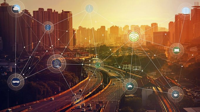 smart city and wireless communication network, abstract image visual, internet of things